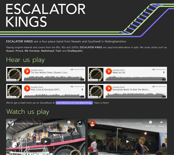 Escalator Kings website